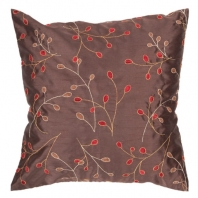 Surya Blossom II Brown Floral Throw Pillow HH094