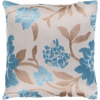 Surya Blossom Beige Floral Throw Pillow HH130