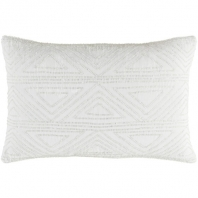Surya Hira White Geometric Seed Beaded Shag Throw Pillow HIR001