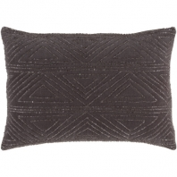 Surya Hira Black Geometric Seed Beaded Shag Throw Pillow HIR002