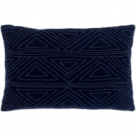 Surya Hira Blue Geometric Seed Beaded Shag Throw Pillow HIR003