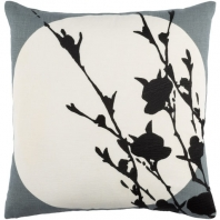 Surya Harvest Moon Black Nature Scandinavian Throw Pillow HR001