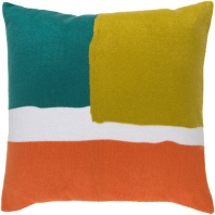 Surya Harvey Green Color Block Mid-Century Throw Pillow HV004