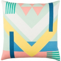 Surya Lina Blue Geometric Mid-Century Throw Pillow INA005
