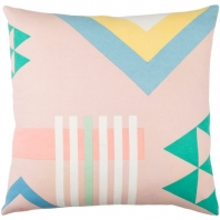 Surya Lina Pink Geometric Mid-Century Throw Pillow INA006