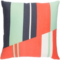 Surya Lina Orange Geometric Mid-Century Throw Pillow INA007