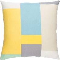 Surya Lina Yellow Geometric Mid-Century Throw Pillow INA010