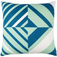 Surya Lina Blue Geometric Mid-Century Throw Pillow INA014