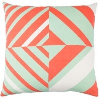 Surya Lina Orange Geometric Mid-Century Throw Pillow INA015