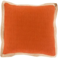 Surya Jute Flange Orange Flange Throw Pillow JF004