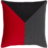 Surya Jonah Red Color Block Mid-Century Throw Pillow JH002