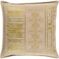 Surya Jizera Beige Flange Scandinavian Throw Pillow JIZ002