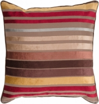 Surya Velvet Stripe Beige Stripe Mid-Century Throw Pillow JS023