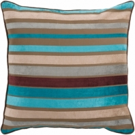 Surya Velvet Stripe Blue Stripe Mid-Century Throw Pillow JS024