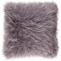 Surya Kharaa Gray Faux Fur Shag Throw Pillow KHR001