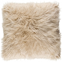 Surya Kharaa Beige Faux Fur Shag Throw Pillow KHR002