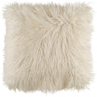 Surya Kharaa White Faux Fur Shag Throw Pillow KHR005