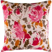 Surya Kalena Pink Floral Throw Pillow KLN001