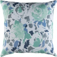 Surya Kalena Blue Floral Throw Pillow KLN002