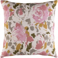 Surya Kalena Pink Floral Throw Pillow KLN004