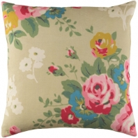 Surya Kalena Beige Floral Throw Pillow KLN005