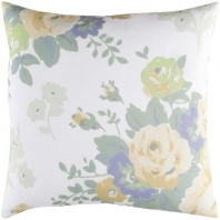 Surya Kalena Gray Floral Throw Pillow KLN006