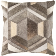 Surya Lycaon Gray Geometric Leather Finish Mid-Century Throw Pillow LCN002