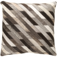 Surya Lycaon Gray Stripe Leather Finish Mid-Century Throw Pillow LCN003
