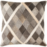 Surya Lycaon Gray Diamond Leather Finish Mid-Century Throw Pillow LCN004