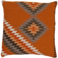 Surya Kilim Orange Scandinavian Throw Pillow LD037