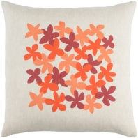 Surya Little Flower Beige Floral Scandinavian Throw Pillow LE001