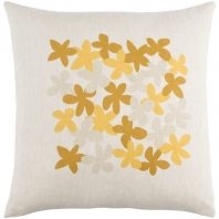 Surya Little Flower Beige Floral Scandinavian Throw Pillow LE002