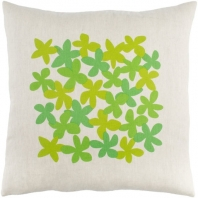 Surya Little Flower Beige Floral Scandinavian Throw Pillow LE003