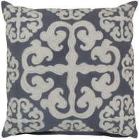 Surya Madrid Beige Arabesque Shag Throw Pillow LG578
