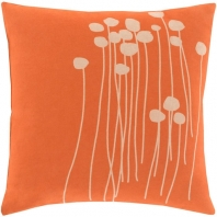 Surya Abo Orange Floral Scandinavian Throw Pillow LJA001
