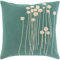 Surya Abo Green Floral Scandinavian Throw Pillow LJA002