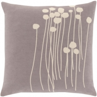 Surya Abo Gray Floral Scandinavian Throw Pillow LJA005
