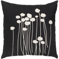 Surya Abo Black Floral Scandinavian Throw Pillow LJA006