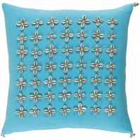 Surya Lelei Blue Tassel Seashell Coastal Throw Pillow LLI001