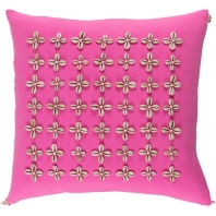 Surya Lelei Pink Tassel Seashell Coastal Throw Pillow LLI002