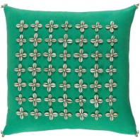 Surya Lelei Green Tassel Seashell Coastal Throw Pillow LLI004
