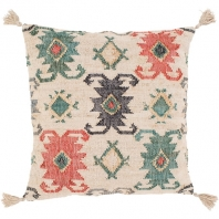 Surya Lenora Beige Tassel Scandinavian Throw Pillow LNR001