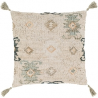 Surya Lenora Beige Tassel Scandinavian Throw Pillow LNR002