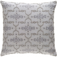 Surya Mercury Gray Arabesque Beaded Embroidered Shag Throw Pillow MER001