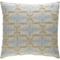 Surya Mercury Gray Arabesque Beaded Embroidered Shag Throw Pillow MER002