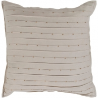 Surya Moonlight Beige Hems Flange Beaded Scandinavian Throw Pillow MO002