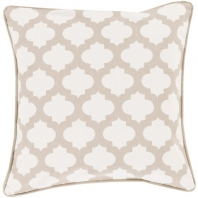 Surya Moroccan Printed Lattice White Arabesque Throw Pillow MPL007