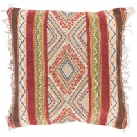 Surya Marrakech Beige Fringe Embroidered Scandinavian Throw Pillow MR004
