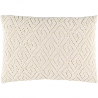 Surya Marielle Beige Geometric Beaded Mid-Century Throw Pillow MRL001