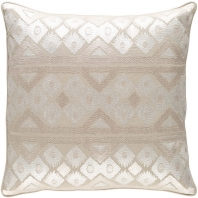 Surya Morowa Beige Embroidered Throw Pillow MRW001